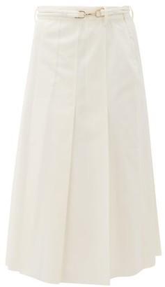 Gabriela Hearst Herbert Pleated Cotton-twill Skirt - Womens - White