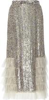 Rodarte Sequin Embellished Ruffled Skirt