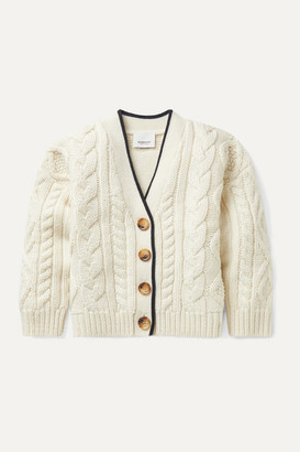 Burberry Ages 3 - 12 Jacquard-trimmed Cable-knit Wool And Cashmere-blend Cardigan