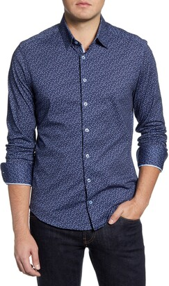 Stone Rose Slim Fit Button-Up Performance Knit Shirt
