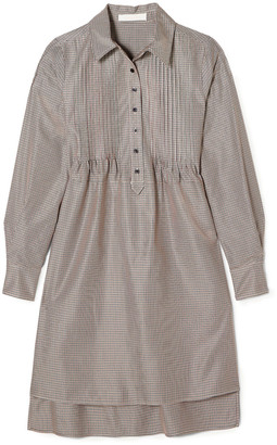 See by Chloe Pintucked Houndstooth Jacquard Shirt Dress