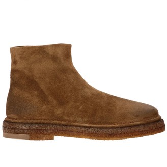 Marsèll Suede Parapa Zip Ankle Boots With Rubber Sole And Zip