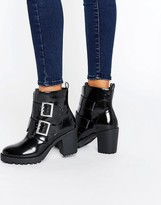 London Rebel Metal Buckle Chunky Boot