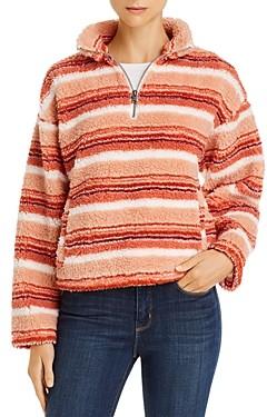 Roxy Quarter-Zip Striped Fleece Sweatshirt