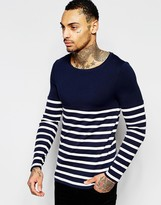 Asos Extreme Muscle Long Sleeve T-Shirt With Stripe Rib And Contrast yoke