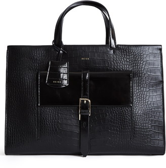 Reiss Large Picton Croc Embossed Leather Satchel