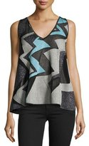 M Missoni Sleeveless Geometric Lurex Intarsia Swing Top, Ice
