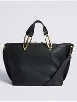 M&S Collection Faux Leather Oval Ring Slouchy Tote Bag