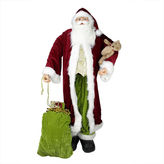 Asstd National Brand Huge 6' Life-Size Sitting Plush Santa Claus Figurine with Teddy Bear & Gift Bag