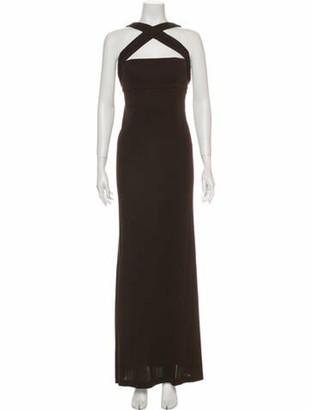 Herve Leger Halterneck Long Dress Brown