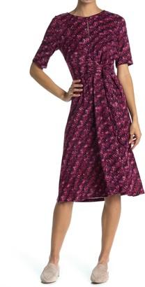 London Times Short Sleeve Tie Waist Midi Dress