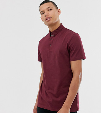 Asos Design DESIGN Tall polo shirt with collar tie pin in burgundy-Red