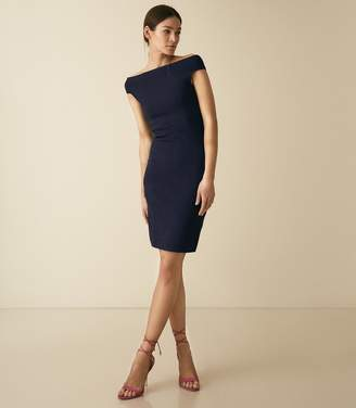 Reiss Pippa - Knitted Bardot Bodycon Dress in Navy