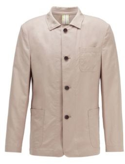 HUGO BOSS Slim-fit jacket in cotton with linen