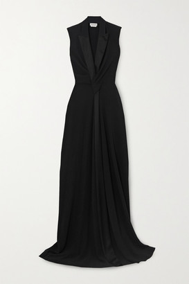 Alexander McQueen Draped Crepe Gown - Black