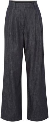 Brunello Cucinelli Embellished Striped High-rise Wide-leg Jeans