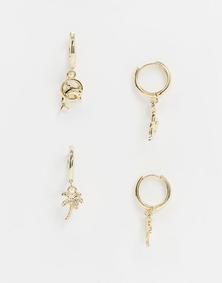 ASOS DESIGN pack of 2 hoop earrings with dolphin and palm tree charms in gold tone