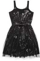 Us Angels Girls' Tulle Overlay Sequined Dress - Sizes 7-16