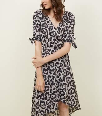 New Look AX Paris Leopard Print Tie Wrap dress