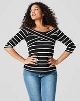 Ribbed Wrap Front Bardot Top