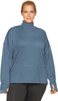 Core 10 Amazon Brand Women's Be Warm Thermal Relaxed Fit Mock Long Sleeve