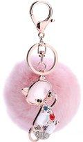 ENGDA Cute Cat Po Car Fur Ball Woen Key Holder Ring Anial Keychains