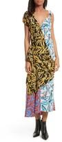 Diane von Furstenberg Women's Asymmetrical Mixed Print Silk Maxi Dress