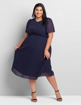Lane Bryant Polka Dot Flutter-Sleeve Midi Dress