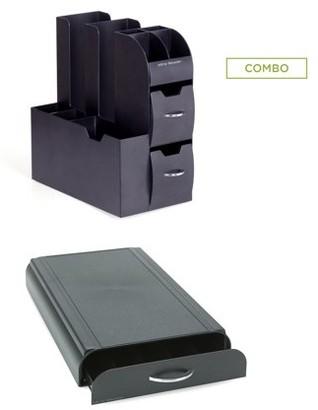 Nespresso Mind Reader Coffee Condiment Caddy Organizer with Coffee Pod Storage Drawer Organizer, 50 Capacity Capsule, Black 2 Pc Set