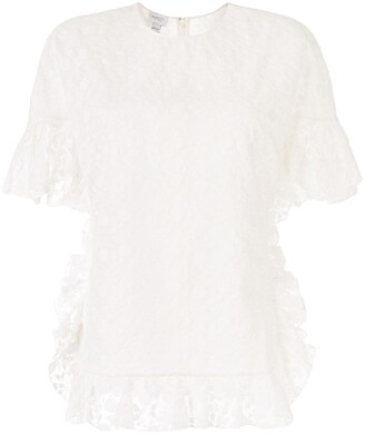 Giambattista Valli Floral Lace Ruffle-Trimmed Blouse