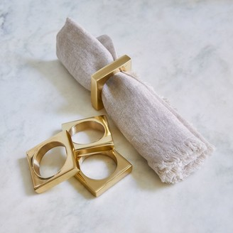Lulu & Georgia Modernist Napkin Ring Set, Solid Brass