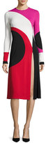 Naeem Khan Colorblock Front-Slit Long-Sleeve Dress, Multi Pattern