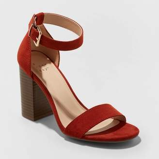 A New Day Women's Julia Microsuede High Block Heel Sandal Pumps Rust