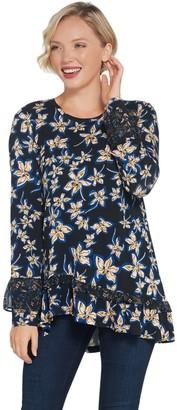 Logo By Lori Goldstein LOGO by Lori Goldstein Printed Knit Top with Chiffon Ruffle