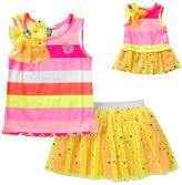 Dollie & Me Girls 4-14 Striped Tank Top & Mesh Tutu Skort Set