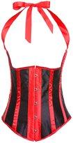 Frawirshau Women's Satin Lace Up Boned Bridal Underbust Halter Corset Plus Size Red 3X