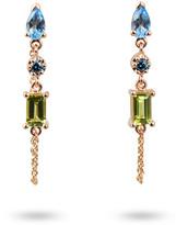 3-Stone Semiprecious and Diamond Dangle Earrings with Chain, Blue/Green