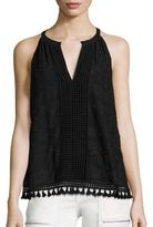 Joie Eliska Crinkle Embroidered Chiffon Tank Top