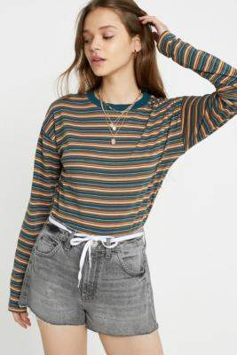 Urban Outfitters Green Stripe Long-Sleeve Crop T-Shirt - green XS at