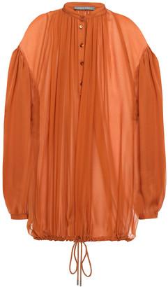 Alberta Ferretti Gathered Silk-voile Blouse