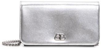 Balenciaga BB Metallic Leather Phone-Case-On-Chain