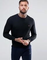 Emporio Armani Crew Sweater with Contrast Logo in Black