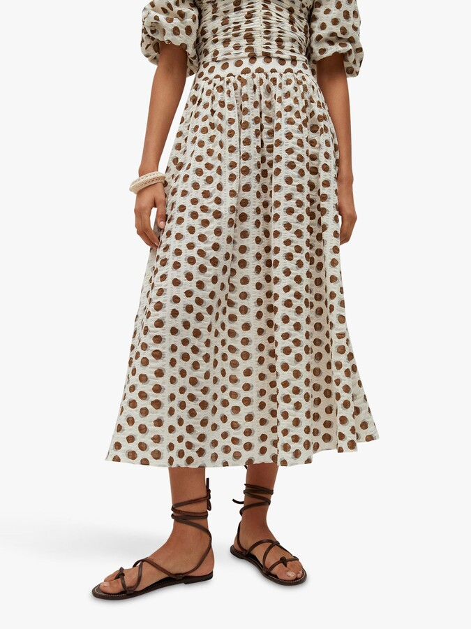 Thumbnail for your product : MANGO Cotton Spotted Midi Skirt, White