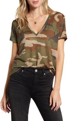 Rails Cara Camo Print V-Neck T-Shirt