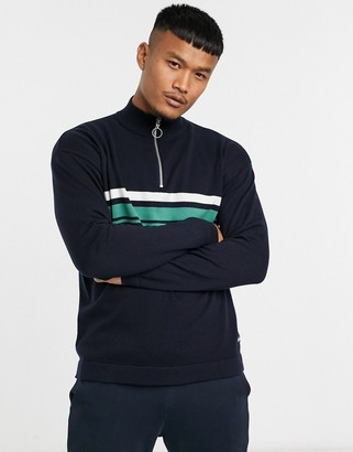 Jack and Jones Originals quarter zip stripe knitted sweater in navy