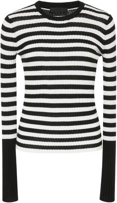 ATM Anthony Thomas Melillo Striped Rib Knit Wool Sweater