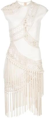Oscar de la Renta Topstitching Fringed Dress