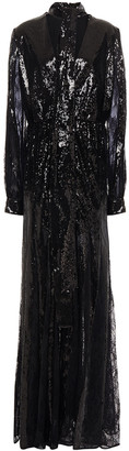 Elie Saab Tie-neck Lace Paneled Sequined Stretch-tulle Gown