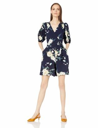 Gabby Skye Women's 3/4 Sleeve V-Neck Floral Print Romper