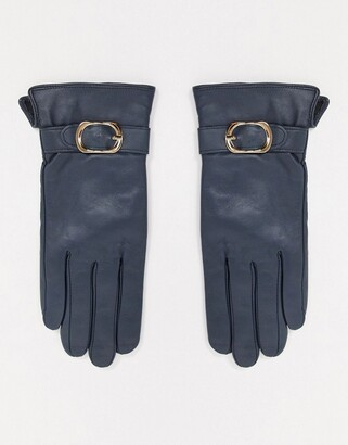 Barneys New York real leather gloves with buckle detail in navy